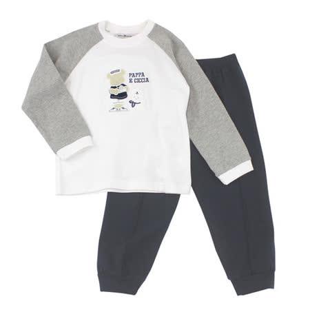 【愛的世界】pappa&ciccia 海軍熊熊系列棉質休閒套裝/2~3歲-台灣製-