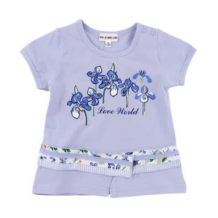 【愛的世界】LOVEWORLD 鳶尾花系列花卉公主袖上衣/4~8歲-台灣製-