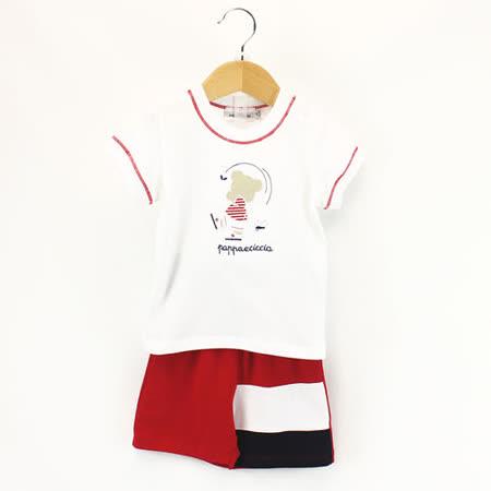 【愛的世界】pappa&ciccia 紳士小熊系列純棉休閒套裝/4~6歲-台灣製-
