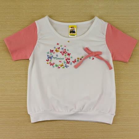 【愛的世界】MYBABY 蝶舞系列彈性圓領短袖上衣/1~3歲-台灣製-