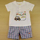 【愛的世界】MYBABY 小狗郊遊去系列純棉短袖套裝/2~4歲-台灣製-