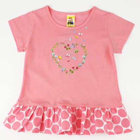 【愛的世界】MYBABY 蝶舞系列純棉圓領短袖上衣/6~8歲-台灣製-
