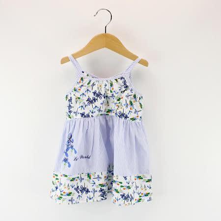 【愛的世界】LOVEWORLD 鳶尾花系列細肩帶花卉露背洋裝/4~8歲-台灣製-
