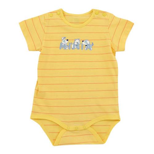 ~愛的世界~MYBABY 小狗三兄弟系列橫紋圓領連身衣6個月~2歲~ 製~