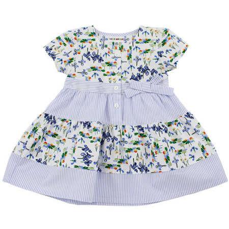 【愛的世界】LOVEWORLD 鳶尾花系列短袖圓領花卉洋裝/6個月~2歲-台灣製-