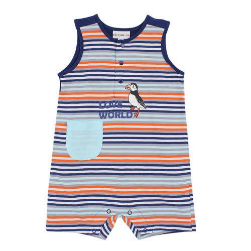 ~愛的世界~LOVEWORLD 海鸚鵡系列橫紋背心衣連褲6個月~2歲~ 製~
