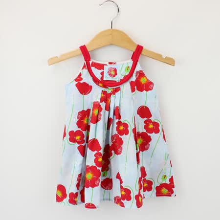 【愛的世界】LOVEWORLD 罌粟花系列罌粟花純棉背心洋裝/1~2歲-台灣製-