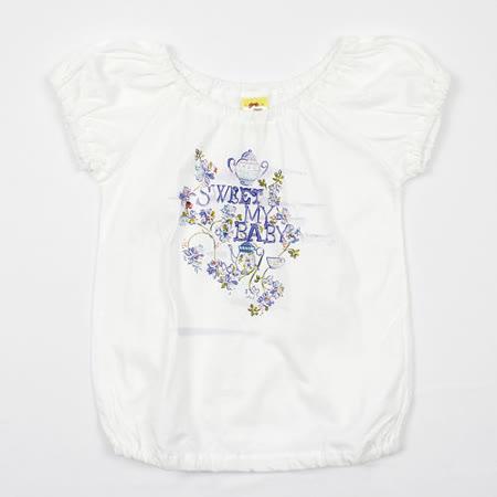【愛的世界】MYBABY 午茶時光系列泡泡袖圓領純棉上衣/6~8歲-台灣製-