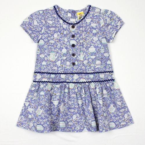 ~愛的世界~MYBABY 午茶時光系列純棉包袖拉鍊洋裝3~4歲~ 製~