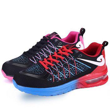 ALicE (預購)Y1206線條交叉百搭學院風氣墊運動鞋 (藍/玫紅)