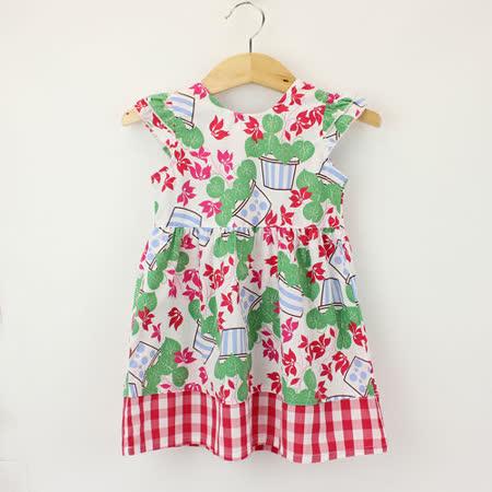 【愛的世界】LOVEWORLD 花盆系列夏日甜心純棉半袖洋裝/4~6歲-台灣製-