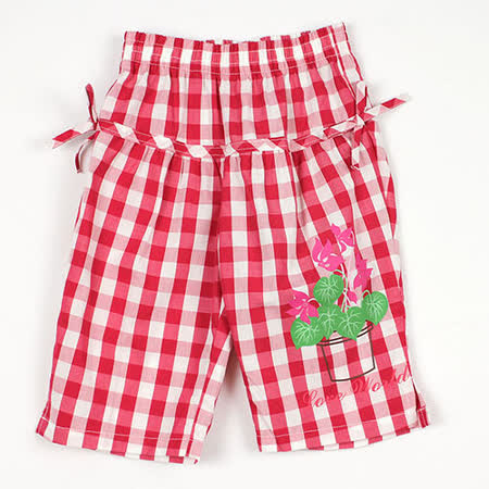 【愛的世界】LOVEWORLD 花盆系列格紋鬆緊帶純棉七分褲/8~10歲-台灣製-