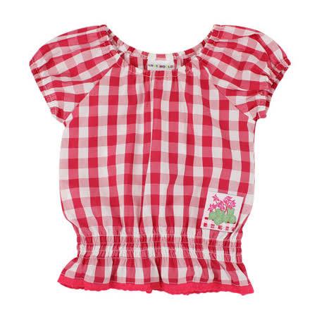 【愛的世界】LOVEWORLD 花盆系列純棉泡泡袖格紋上衣/2~3歲-台灣製-