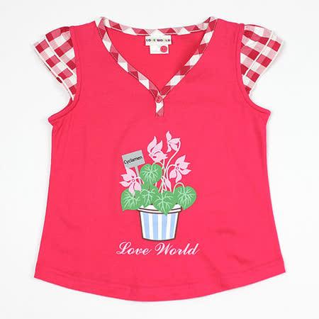 【愛的世界】LOVEWORLD 花盆系列純棉V領半袖上衣/8~10歲-台灣製-