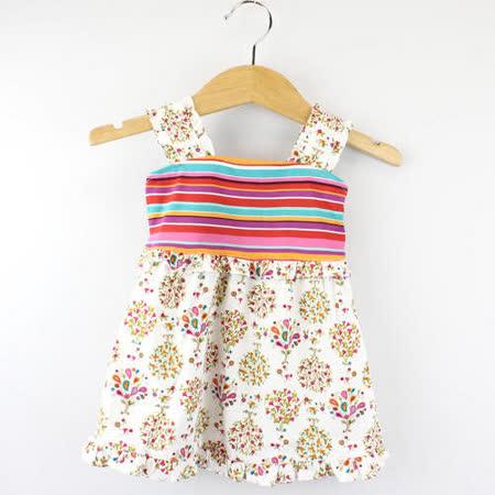 【愛的世界】MYBABY 東方假期系列夏日純棉露背洋裝/4~6歲-台灣製-
