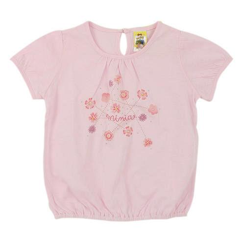 ~愛的世界~MYBABY 我的春天花園系列純棉圓領包袖上衣~淺粉3^~4歲~ 製~