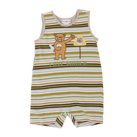 【愛的世界】LOVEWORLD 熊出沒系列純棉細橫紋背心衣連褲/6個月-台灣製-