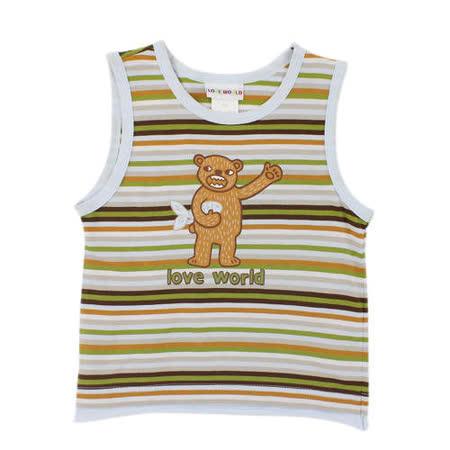 【愛的世界】LOVEWORLD 熊出沒系列純棉細橫紋背心/2歲-台灣製-