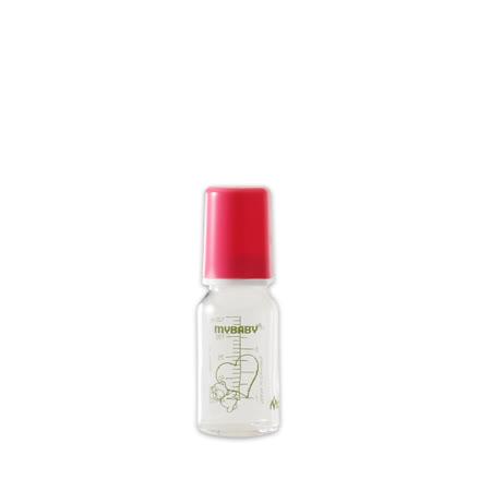 【愛的世界】MYBABY 德國進口耐熱玻璃奶瓶/德國奶瓶125ML(桃紅)-德國製-