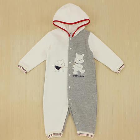 【愛的世界】pappa&ciccia 好朋友系列保暖磨毛連帽衣連褲/1~2歲-台灣製-