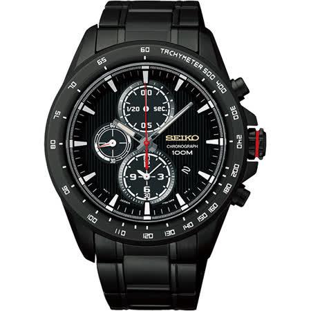SEIKO Criteria 星際航行三眼計時腕錶-黑/43mm 7T92-0SC0SD(SNDG27P1)