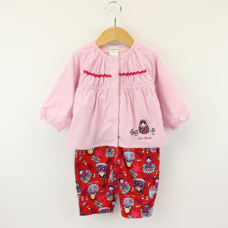 【愛的世界】LOVEWORLD 俄羅斯娃娃系列純棉條絨衣連褲/6個月~1歲