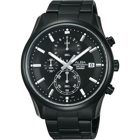 ALBA 自由之心時尚三眼計時腕錶-黑x銀/42mm VD57-X050SD(AM3159X1)