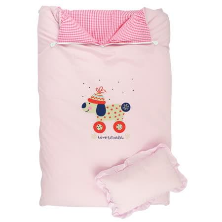 【愛的世界】LOVEWORLD 溜冰小女童幼兒睡袋-粉色/105*135CM-台灣製-