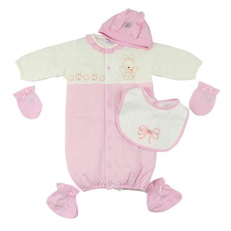 【愛的世界】MYBABY 小兔與雲系列圓領純棉舖棉長袖兩用嬰衣5件組(不附盒)/3~6個月-台灣製-