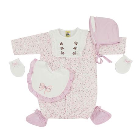 【愛的世界】MYBABY 小兔與雲系列荷葉邊純棉舖棉長袖兩用嬰衣5件組(不附盒)/3~6個月-台灣製-