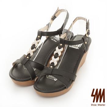 SM-台灣製真皮系列-綁帶造型亮鑽高跟涼鞋-黑色