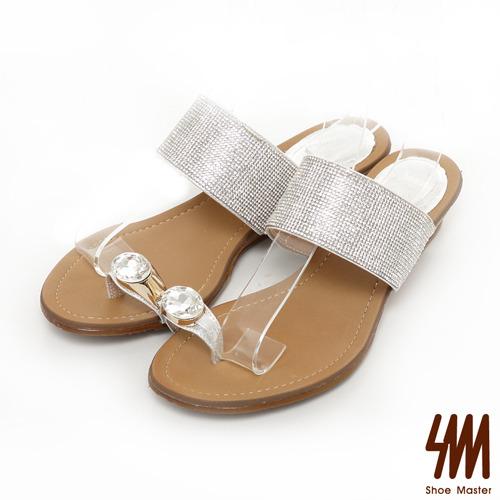 SM-台灣製真皮系列-閃亮寶石戒指楔型低跟拖鞋-銀色