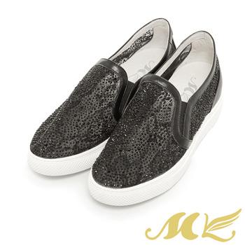 MK-真皮手作優選-甜美簍空蕾絲鑽面懶人平底休閒鞋-黑色