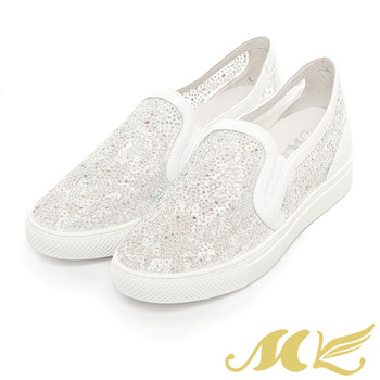 MK-真皮手作優選-甜美簍空蕾絲鑽面懶人平底休閒鞋-白色