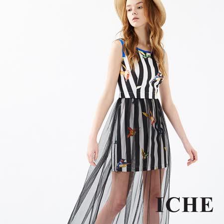 ICHE 衣哲 條紋印花拼接雪紡長版洋裝