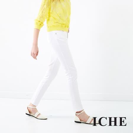 ICHE 衣哲 白色彈性窄管褲