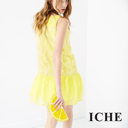 ICHE 衣哲 3D蕾絲雕花拼接洋裝