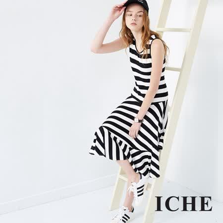 ICHE 衣哲 條紋拼接不規則連身長版洋裝