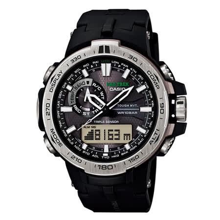 CASIO PROTREK 超輕薄型戶外登山電波錶-黑x銀框/52.1mm/PRW-6000-1