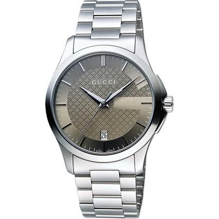 GUCCI G-Timeless 菱格紋女錶-棕x銀/38mm YA126445
