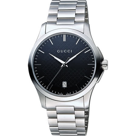 GUCCI G-Timeless 菱格紋女錶-黑x銀/38mm YA126457