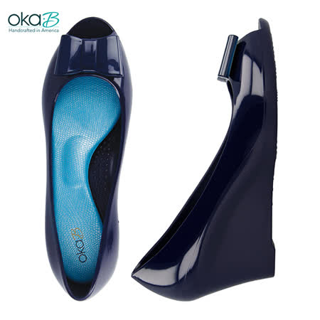 【OkaB】ANNABELLA立體蝴蝶結楔型高跟鞋 深藍(k2047-SAP)