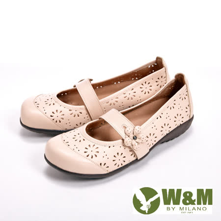 【W&M】鏤空雕花設計透氣娃娃鞋-米(另有紅、藍)
