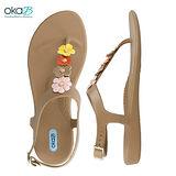【OkaB】FEY時尚花漾夾腳涼鞋 褐色(k1033-CAM)