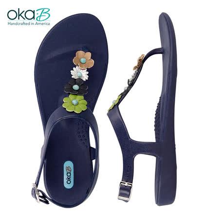 【OkaB】FEY時尚花漾夾腳涼鞋 藍色(k1047FY-SAP)