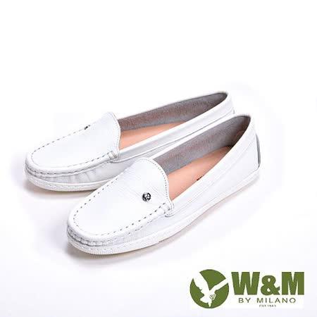 【W&M】袖扣豆豆鞋莫卡辛鞋女鞋-白(另有深藍)