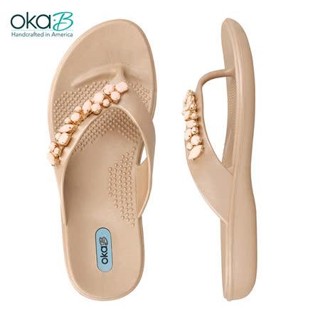 【OkaB】MARLEY立體寶石夾腳鞋 杏色(k9846-GOL)