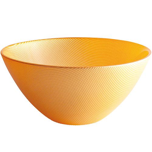 ~EXCELSA~Diamond菱紋玻璃沙拉碗^(黃20cm^)