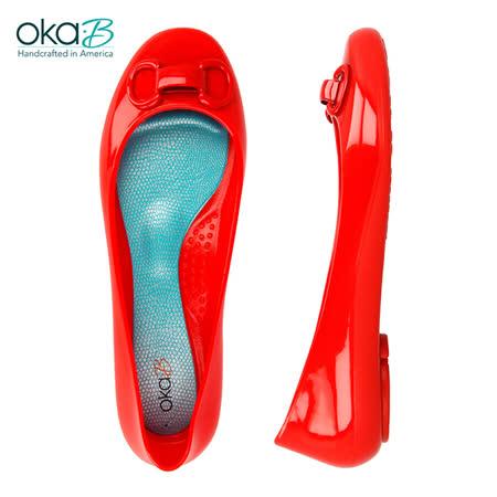【OkaB】MATEA立體馬蹄形裝飾娃娃鞋 紅色(k0524MT-CHE)