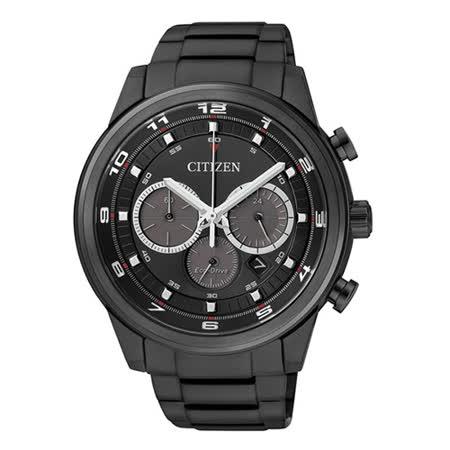 CITIZEN Eco-Drive 超凡時尚三眼計時光動能腕錶(IP黑/43mm) CA4035-57E